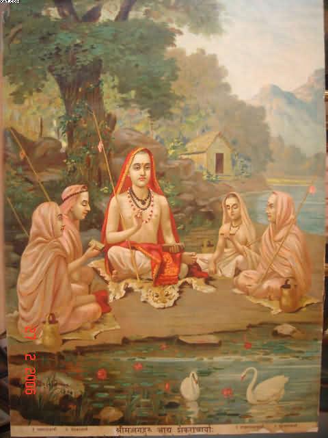Adi Shankaracharya with his disciples